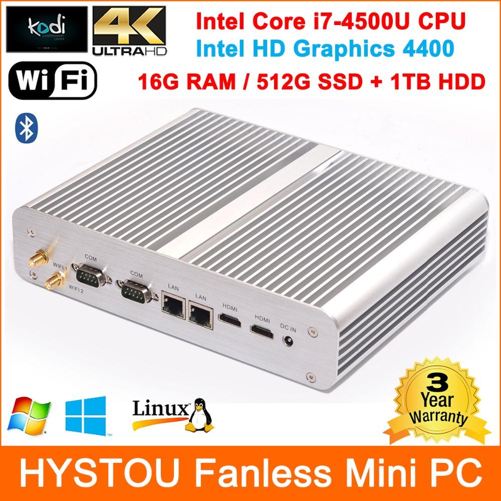 High Grade Rugged Computers Mini PC Fanless Computer Core i7 4500u 16G RAM 512G SSD+1TB HDD Storage Gigabit Lan Ports 300MB Wifi(China (Mainland))