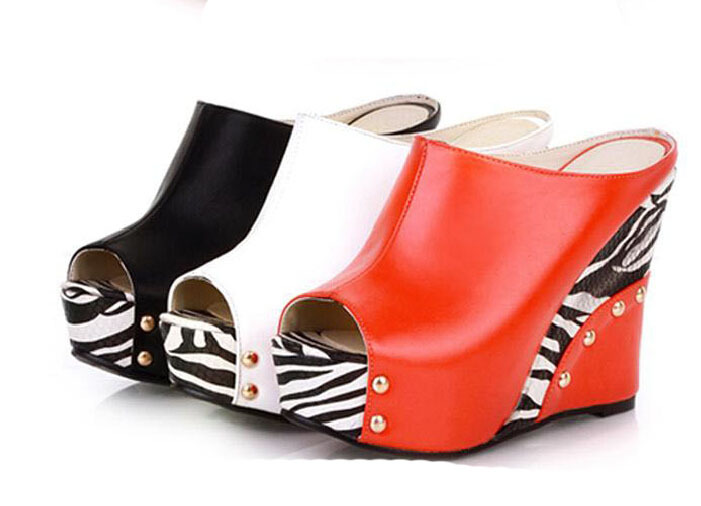 Women 11CM Fashion princess open toe wedges sandals leopard print all-match comfortable high platform shoes female red white New(China (Mainland))