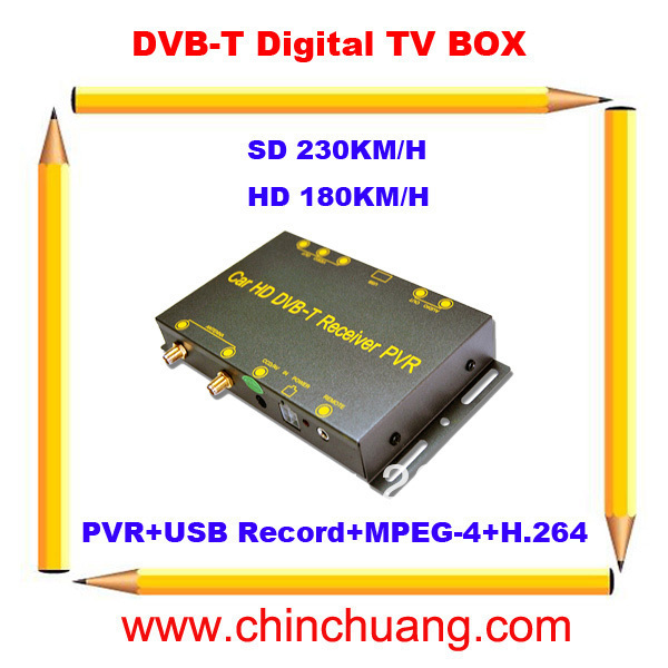 New! Car Mobile HD DVB-T Digital TV Receiver Box with 2 DiBcom Tuners  MPEG-4/H.264, Support PVR USB Record PIG 180km/h