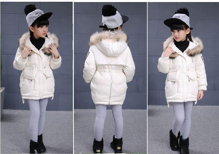 Скидки на Девушки зимняя куртка вниз хлопка мягкий утолщение дети верхняя одежда пальто с капюшоном теплый средней длины девушки зимнее пальто для 3-10 Т