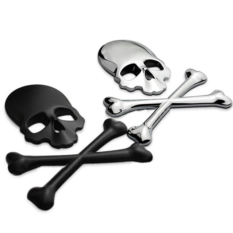 3D 3M Skull Metal Skeleton Crossbones Car Motorcycle Sticker Label Skull Emblem Badge car styling stickers accessories decal(China (Mainland))