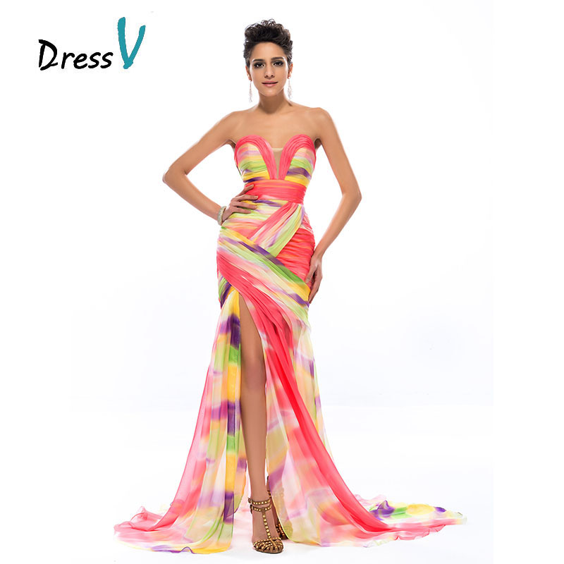 DressV Colorful Print Mermaid Long Evening Dress 2016 Chiffon Sweetheart Ruched Sexy Split Front Formal Dresses Party Prom Gowns(China (Mainland))