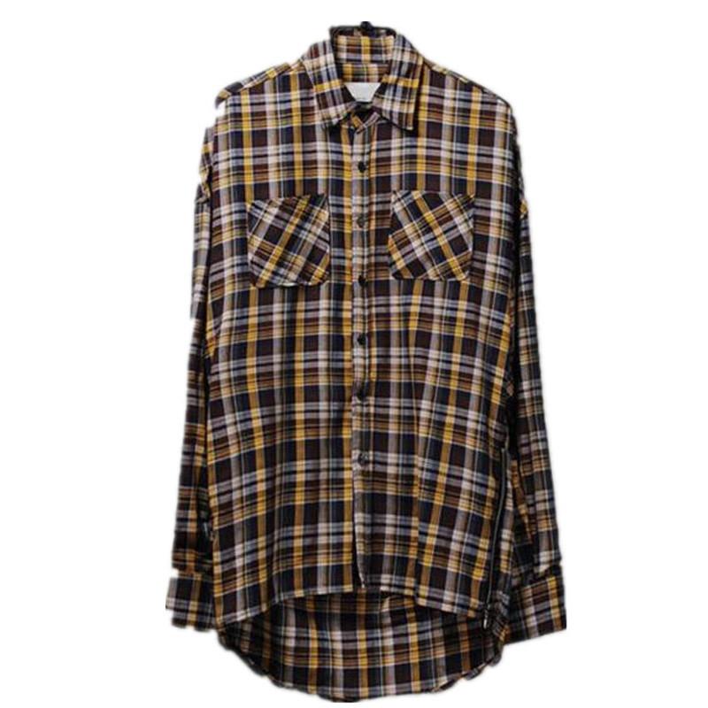 Hi Street Mens Casual Plaid Shirts Long Sleeve Side Zipper Streetwear font b Tartan b font