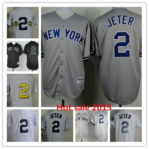 Cheap 2015 Mens Baseball Jersey New York #2 Derek Jeter Authentic Jerseys NY Top quality Sports shirt Wholesale Embroidery Logos(China (Mainland))