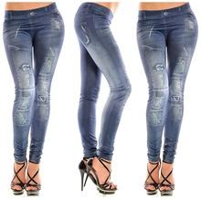 Girls fashion New Stylish Gray Faux Jean Denim Like Women Leggings Pants  (China (Mainland))