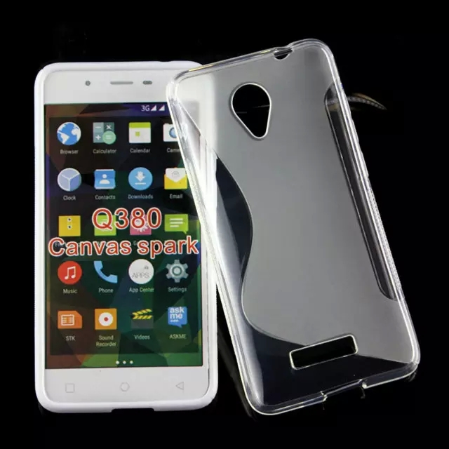 100pcs/lot  mobile phone case for Micromax Canvas Spark Q380 case tpu s line style  Mobile Phone protective back Cover case