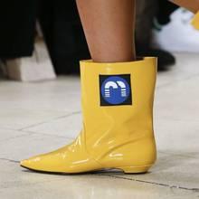 Prova Perfetto Snake Skin Leather Ankle Laarzen Voor Vrouwen Regen Laarzen Runway Korte Laarzen Vrouwen Wees Teen Platte Hak Botas mujer(China)