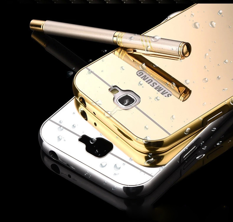 Luxury Golden Metal Case for Samsung Galaxy Note II Note 2 N7100 Ultra Thin Aluminum Metal Frame Cover Mirror Acrylic Cases