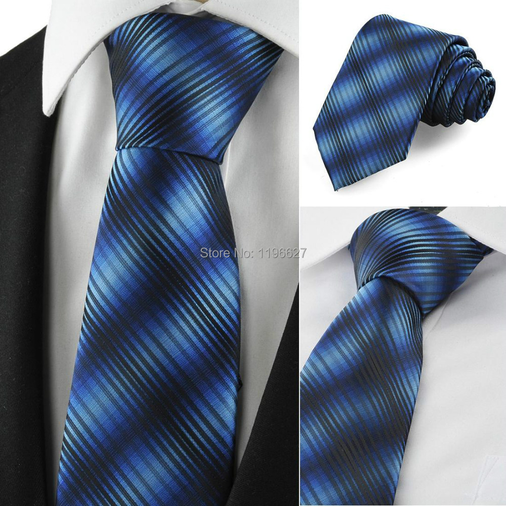 Fashion Men's Ties Necktie Gradual Blue Black Striped Classic Jacquard Woven Casual Formal TIE suit Wedding Party Gift - xtopmall store