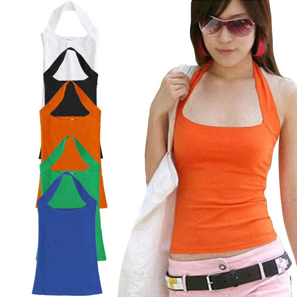 Summer Sexy Cotton Halter Neck Sleeveless Vest Tank Backless Crop Top Strapless Bottoming Sheath Slim Vest For Women Ladies HB88(China (Mainland))