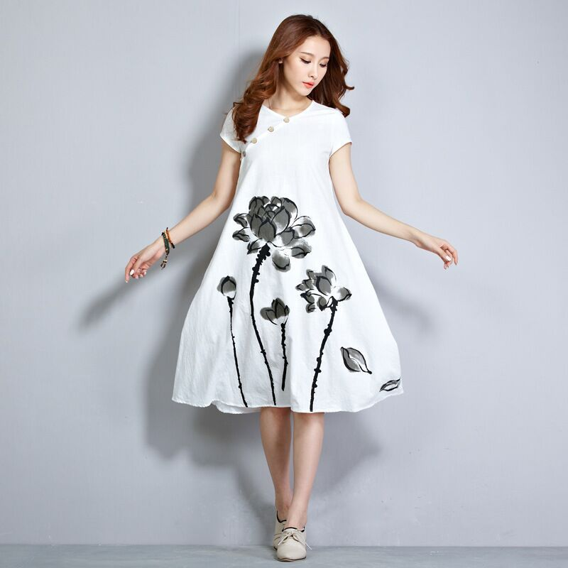 Summer New Chinese Ink Printing Short Sleeve Dress Loose Big Yards Ms Female Is Cotton And Linen Garments(China (Mainland))