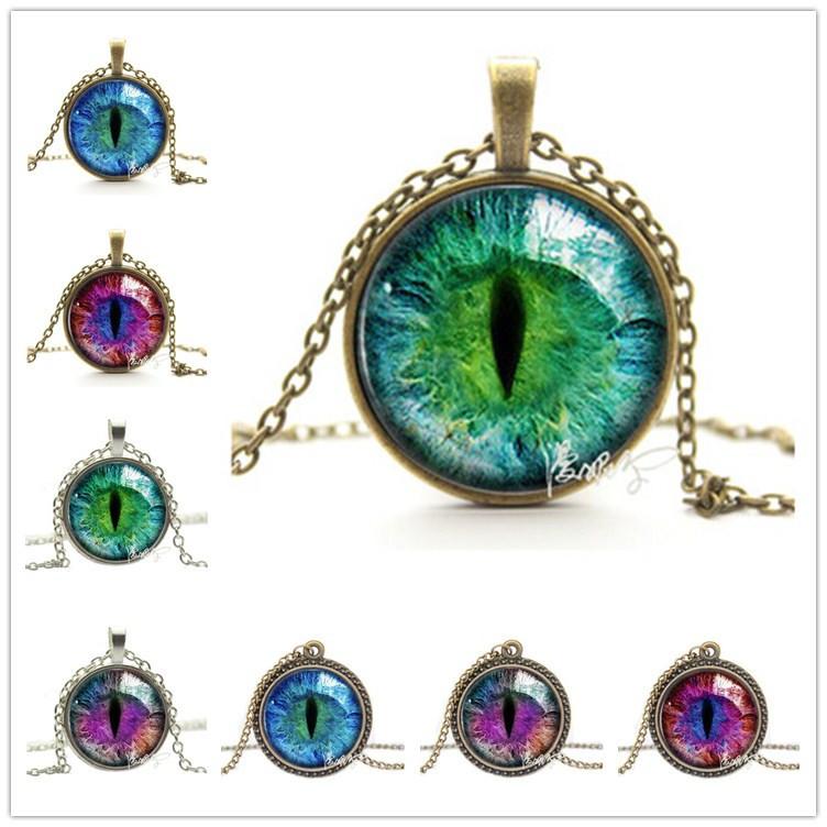 2016 Vintage Jewelry Wholesale Blue Green Cat Eye Necklace Pendant Fashion Charming Rhinestone Ethnic Necklace for Men Women(China (Mainland))