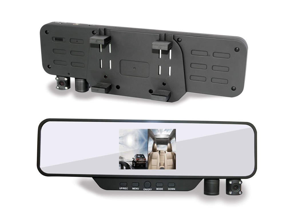 H1000 Car Rearview Mirror recording Mirror DVR 3.5 inch 720P HDMI free shipping Wide-angle 120(China (Mainland))