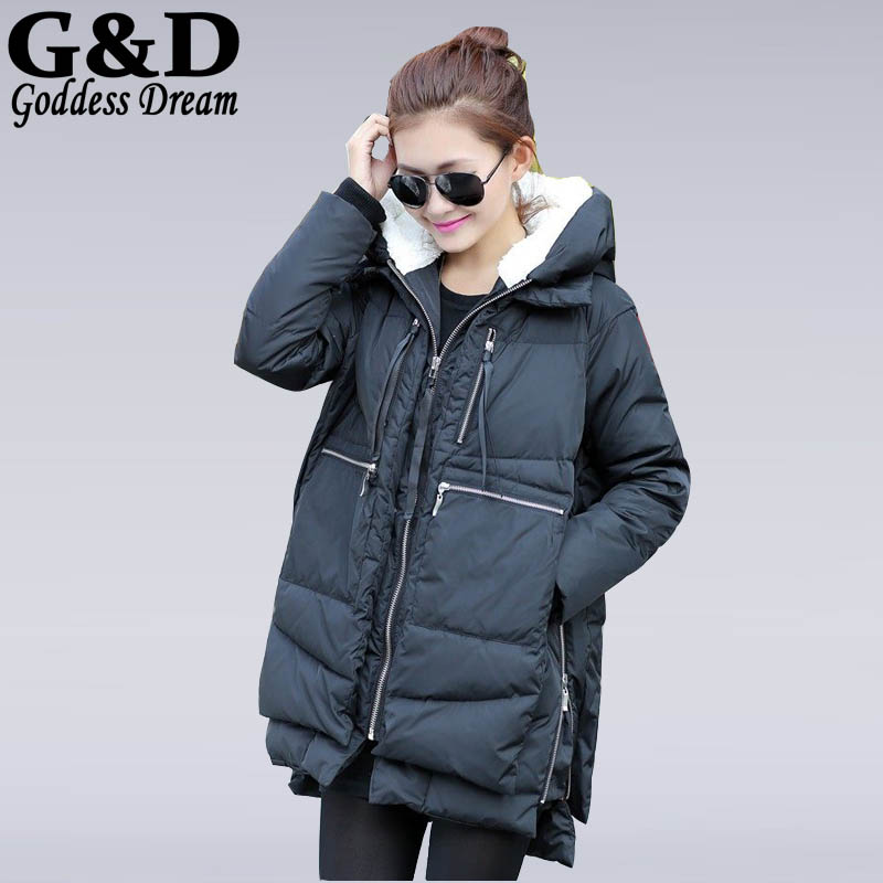 Фотография JD346 Ladies Hooded White Duck Down Coat Female 2015 New Women Winter Long Warm Jacket Plus Size Military Overcoat Parkas Mujer