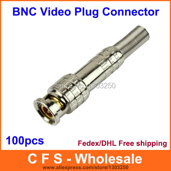 100pcs Gold BNC Male Video Plug Coupler Connector to screw for RG59 Cable Adapter Fedex / DHL Free Shipping wholesale(China (Mainland))