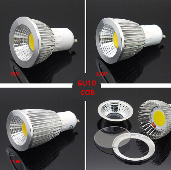 GU10 LED Spot Light Dimmer COB GU10 LED Light Bulb 9W 12w 15w COB LED Spot Light Bulb Lamp White/Warm White Bulb lamp(China (Mainland))
