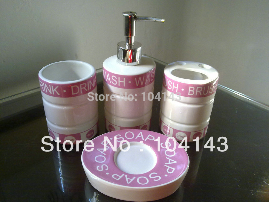 Hot sale pink white deck mount bath 4 pieces ceramic for Pink bathroom accessories sets