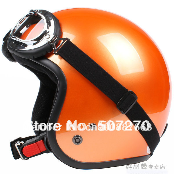 "E.32 3/4 Taiwan "" SYC "" ABS Motorbike Casco Open Face Casque Motorcycle Bright Full Orange Helmet & UV Goggles Adult Summer(China (Mainland))"