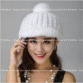 2016 New Fashion Mink Fnitted hat for Famal Autumn and winter Children Warm hat Caps Multiple