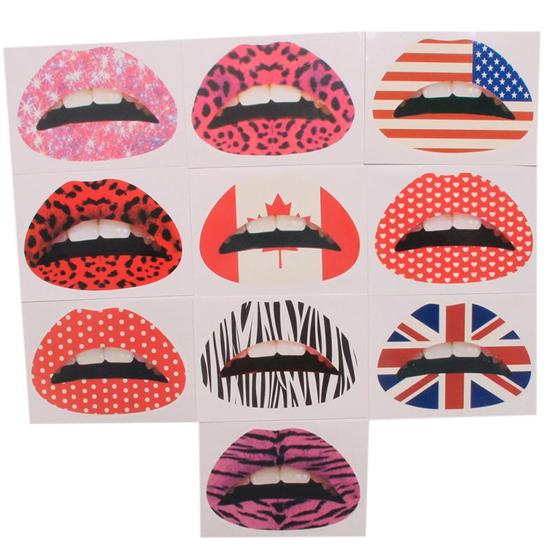 Temporary Lip Tattoo Stickers Lipstick Art Transfers 3D Art Party Fancy Dress Nontoxic Lips Mouth Sticker(China (Mainland))