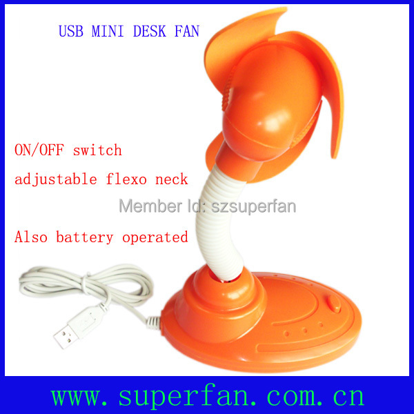 USB connector and batery operated Mini desk fan-Orange color(China (Mainland))