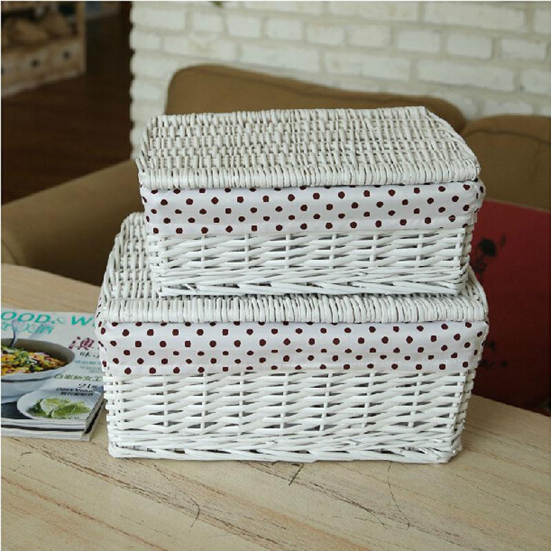 brown white wicker storage baskets with lids organizador bolso closet organizer for clothes. Black Bedroom Furniture Sets. Home Design Ideas