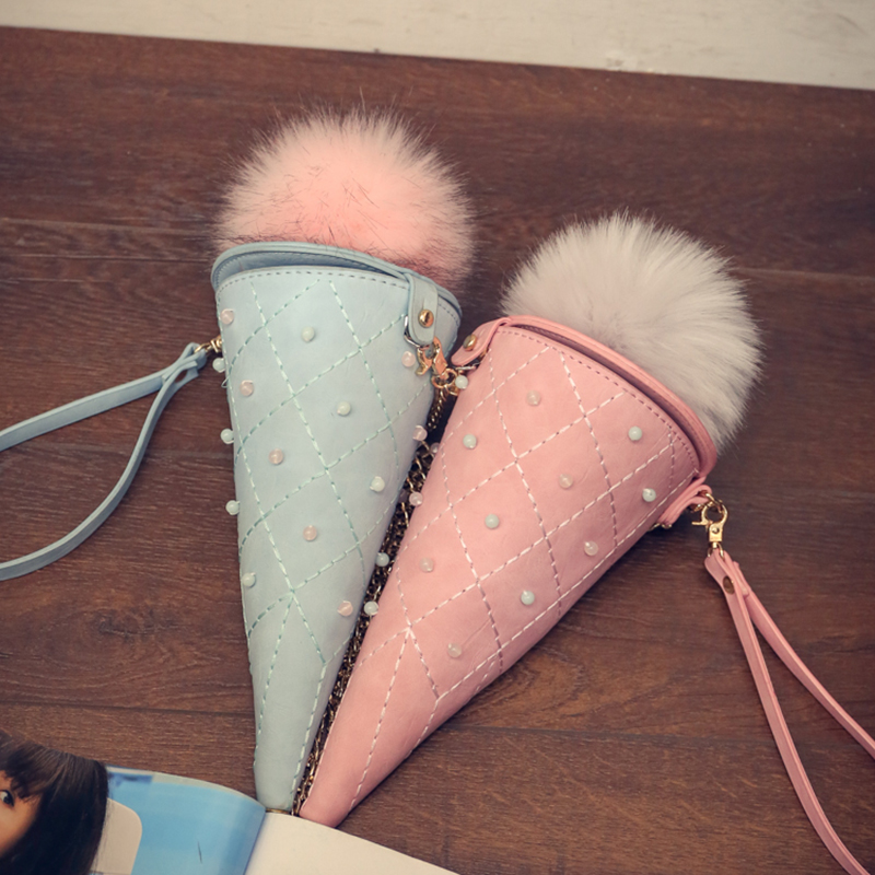 New Fashion design unique personality styling ice cream handbags phone package ladies chain shoulder bag Mini Clutch party purse(China (Mainland))