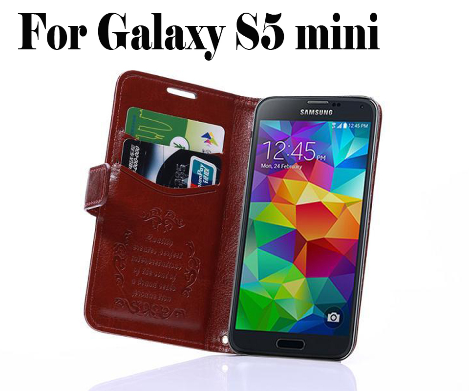 Luxury Wallet Design PU Leather Flip Case Samsung Galaxy S5 mini G800 Phone Bag Card Slots Stand Items,8 Colors - Win-Win International Trading Co.,Ltd store