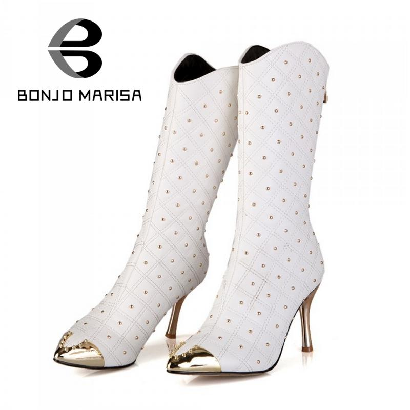 Fashion Pointed Toe Studded Boots Elegant Half Knee High Boots For Woman Sexy Ladies Zip Shoes Thin High Heel Ladies Shoes(China (Mainland))