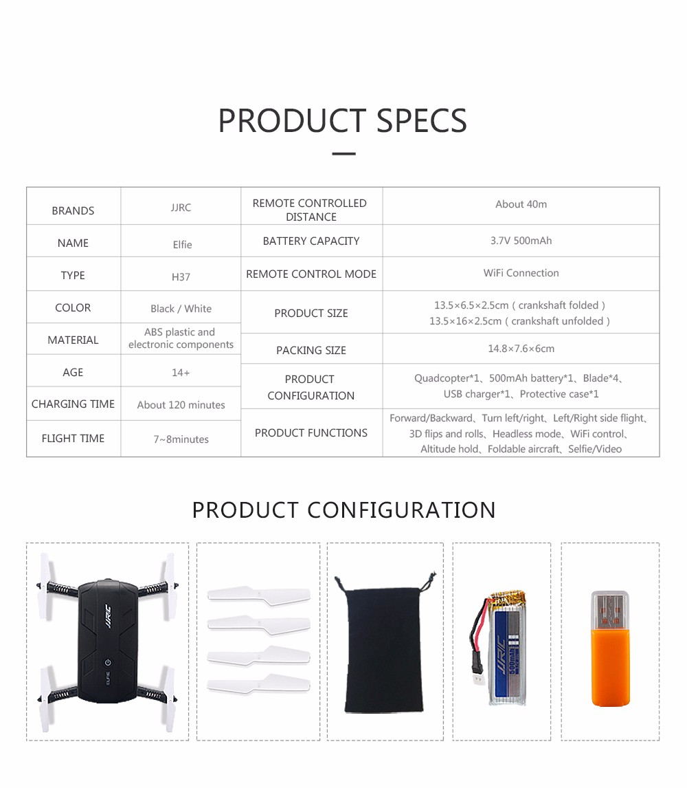 JJRC H37 Drones With Camera HD Selfie Elfie Foldable FPV Transmission Mini Drone RC Quadcopter WiFi Control OR Remote Control