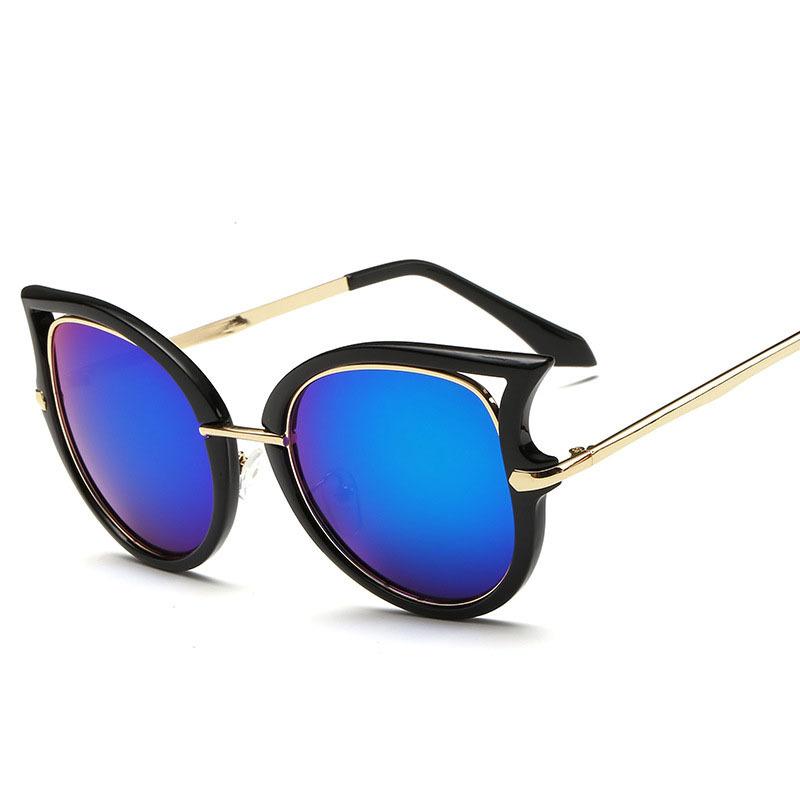 2015 Fashion Tide Attitude Sunglasses Women Super Star Same Brand Designer Cat Eye Sun Glasses Color Reflective Eyewear 921(China (Mainland))