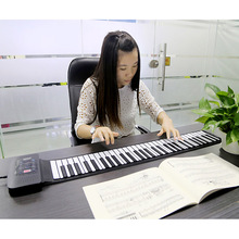 Exquisite Portable 61 Keys Silicone Flexible Roll Up Piano Foldable Keyboard Hand-rolling Piano with Battery USB Cable (US plug)(China (Mainland))