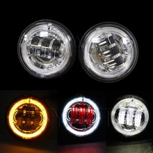 "Buy 2 PCS 4.5"" LED Fog Lights Headlights 30W Front Bumper red demon eye LED Fog Light Assembly Harley motorcycle for $54.40 in AliExpress store"