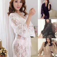 Womens Sexy See Through Lace Sleepwear Robes Lingerie Pajamas Nightgown Bathrobe(China (Mainland))