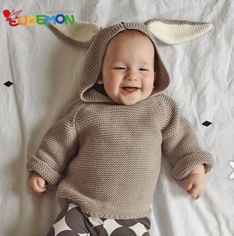 Cute Rabbit Ear sweater baby knitting Child Clothing Autumn Winter Hooded boys outerwear Toddler Girls Children Clothing(China (Mainland))