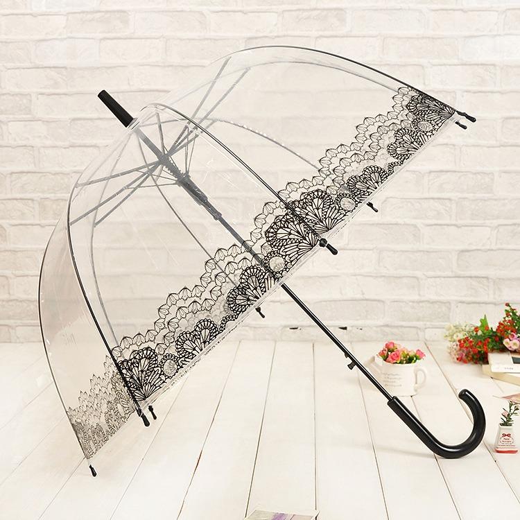 Новинка принт прозрачный зонтик длинная - рукоятка зонтик дождь женщины