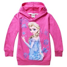 1pcs girls children hoodies Elsa and Anna 100% cotton long sleeve tops cartoon sweatshirts clothing baby kids hoody(China (Mainland))