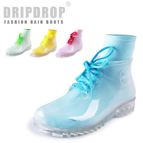 freeshipping! Female transparent crystal rain boots martin fashion short rainboots one pair socks for gift