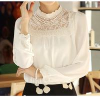2015 New Shirt Women Blouses Long Sleeve Flower Lace Chiffon Blouse Top Blusas Femininas Plus Size Clothing Free Shipping 0788