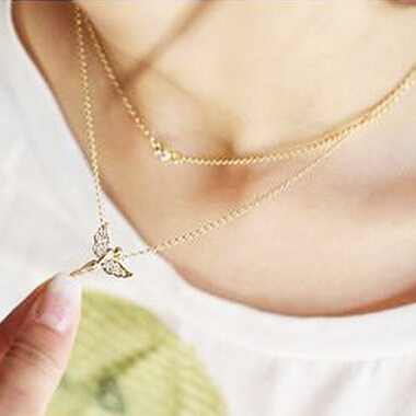 Free shipping new hot Fashion High quality Gold plated chain rhinestone angel wings pendant Necklace Statement