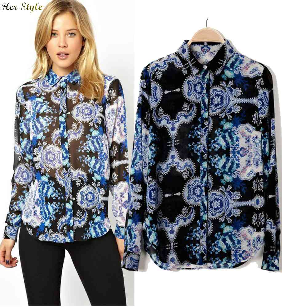 Free Shipping 2015 spring wind temperament of Oriental blue and white printed chiffon shirt women long sleeve 1426161100(China (Mainland))