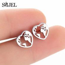 Smjel Bohemia Mickey Bông Tai Nữ Thời Trang Trẻ Em Inox Lá Dứa Hoa Bông Earings Cây Trang Sức Pendientes(China)