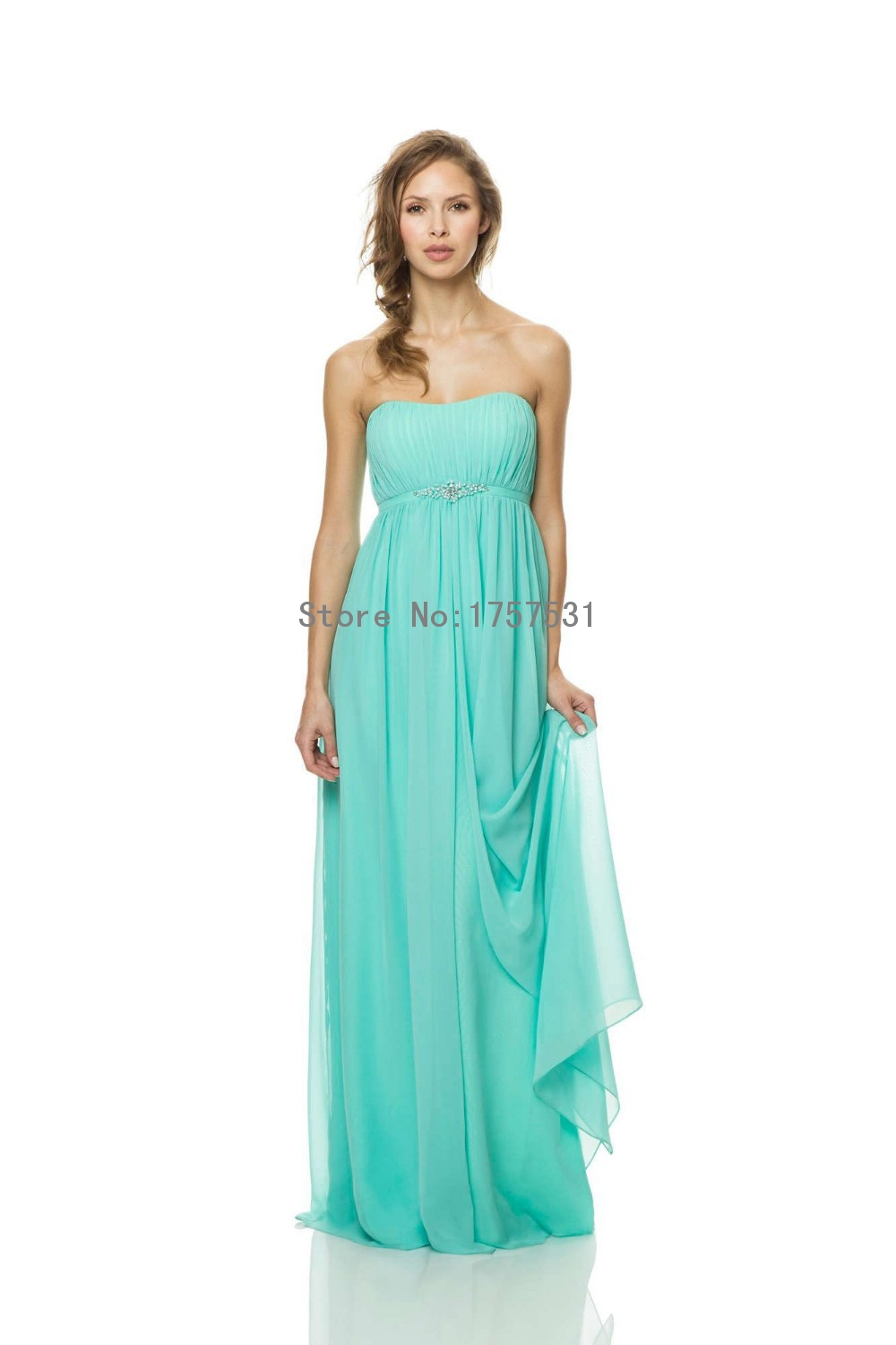 Turquoise Strapless Empire Chiffon Long Plus Size