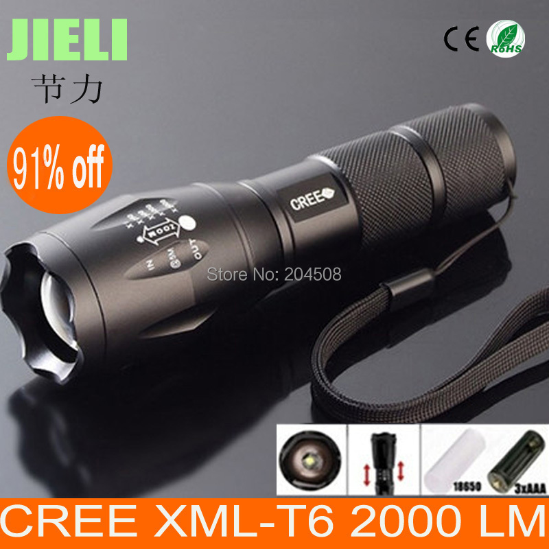 Promotion 91% off Best Quality Ultra Bright CREE XML-T6 LED Flashlight 5 Modes 2000 Lumens Zoomable LED Torch(China (Mainland))