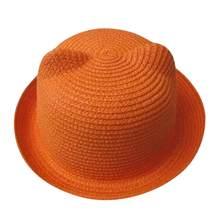 الصيف الطفل قبعة قبعة الأطفال تنفس قبعات من القش الأطفال آذان القط sunhat الاطفال لطيف الصلبة بوي بنات القبعات 2018(China)