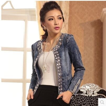 New Slim Denim Jackets Outerwear Coats Classical Rhinestone Sequins Retro Jackets Women Coats With Rivets Female Jackets H223(China (Mainland))