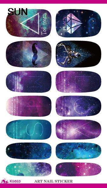 Water Transfer Nails Art Sticker Cartoon Mystery Galaxies Pattern Design Manicure Decor Decals Fashion Nail Wraps Foil Sticker(China (Mainland))