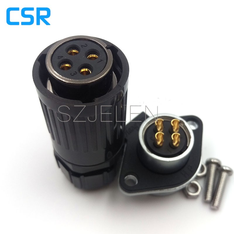 Weipu WP 20, 4 pin power connector industry, automotive connectors 4 pins, waterproof connector electrical wire, dust cover IP55