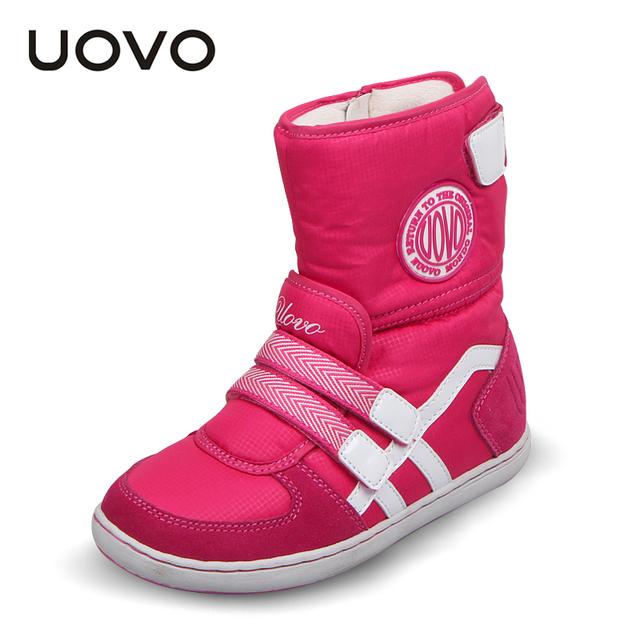 ГОРЯЧАЯ UOVO марка зима детская обувь девочка и мальчик сапоги водонепроницаемый ткань оксфорд дети снег сапоги плюшевые обувь для 6-14 лет
