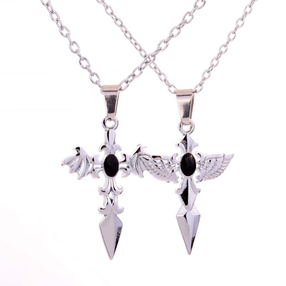 Stainless Steel Angel & Evil Wing Cross Design Pendant Couple Necklace Chain(China (Mainland))